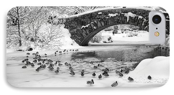 IPhone Case featuring the photograph Gapstow Bridge In Snow by Dave Beckerman