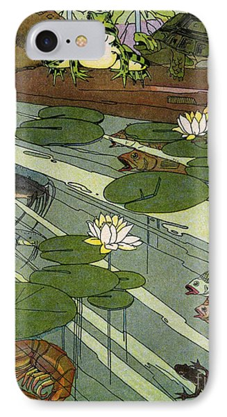 Garada Clark Riley Living Pond With Frog Turtle Lily Pads Fish Crawfish Mouse Snail Lizard Etc Phone Case by Pierpont Bay Archives