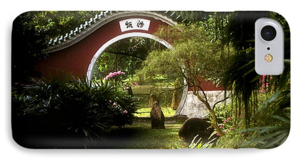 Garden Moon Gate 21e IPhone Case by Gerry Gantt