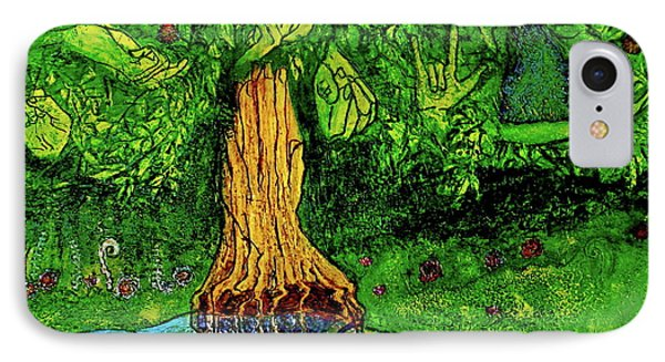 IPhone Case featuring the painting Garden Of Intent Eden For Pandemonium by D Renee Wilson