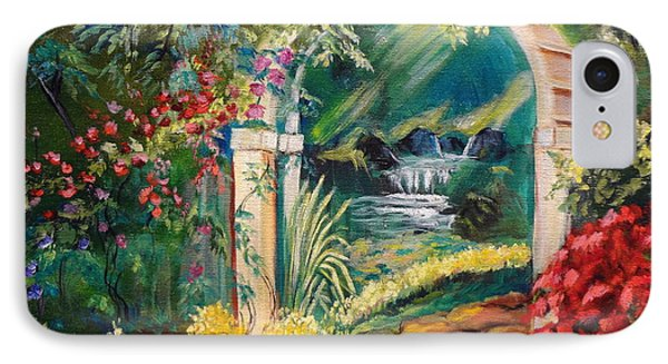 IPhone Case featuring the painting Garden Of Serenity Beyond by Jenny Lee