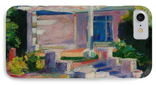IPhone Case featuring the painting Garden With Steps Afternoon Light by Thomas Bertram POOLE