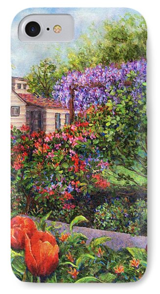Garden With Tulips And Wisteria Phone Case by Susan Savad