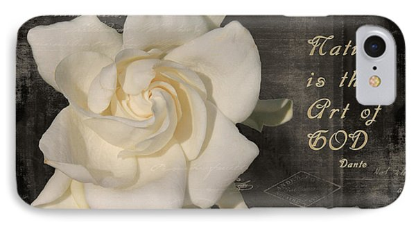 Gardenia And Quote IPhone Case by Rosalie Scanlon