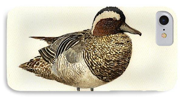 Garganey Duck IPhone Case by Juan  Bosco