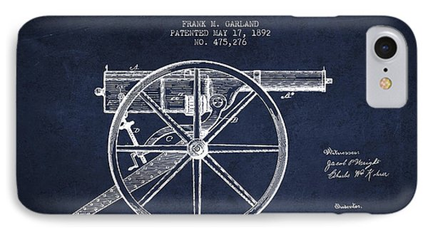 Garland Machine Gun Patent Drawing From 1892 - Navy Blue IPhone Case by Aged Pixel