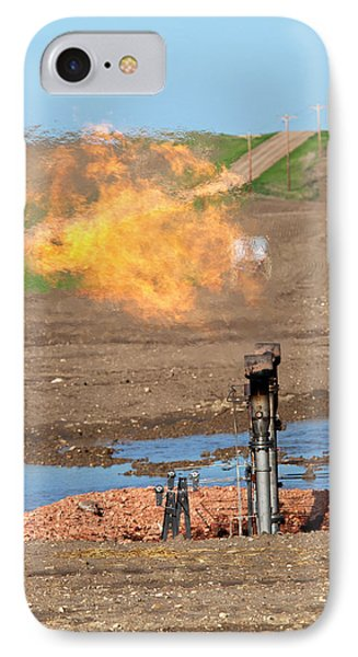 Gas Flare At An Oil Field IPhone Case