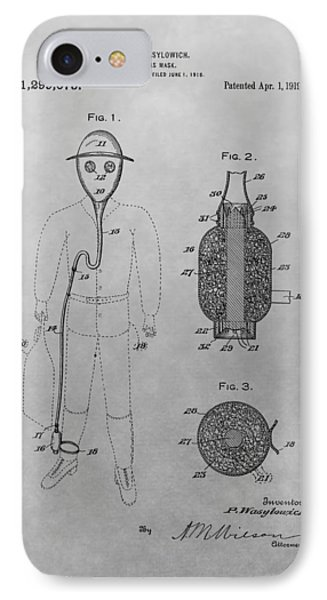 Gas Mask Patent Drawing IPhone Case by Dan Sproul