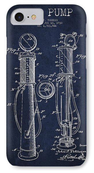 Gas Pump Patent Drawing From 1930 - Navy Blue IPhone Case