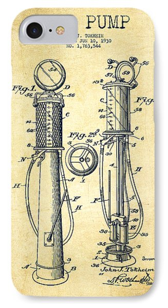 Gas Pump Patent Drawing From 1930 - Vintage IPhone Case
