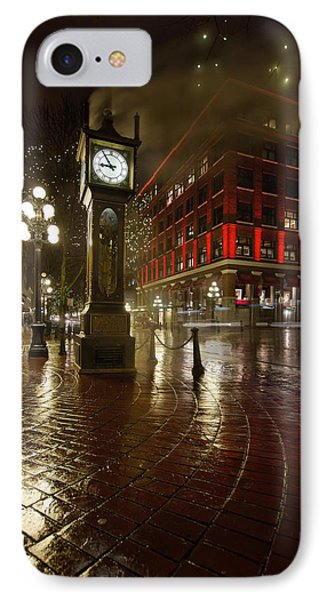 Gastown Steam Clock On A Rainy Night Vertical IPhone Case by Jit Lim