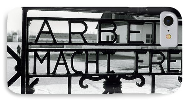 Gate With Inscription Arbeit Macht IPhone Case by Panoramic Images