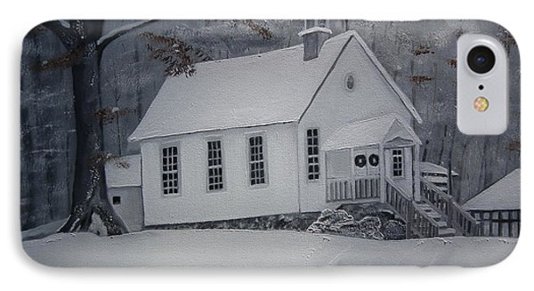 IPhone Case featuring the painting Gates Chapel - Ellijay - Signed By Artist by Jan Dappen