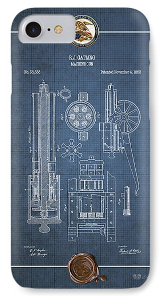 Gatling Machine Gun - Vintage Patent Blueprint IPhone Case by Serge Averbukh