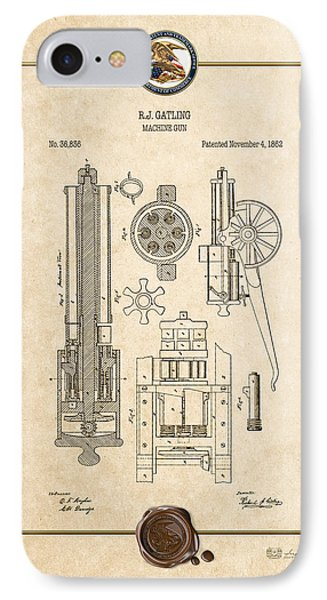 Gatling Machine Gun - Vintage Patent Document IPhone Case by Serge Averbukh