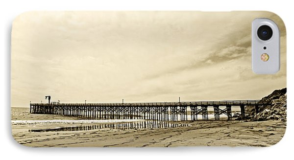 Gaviota Pier In Morning Sepia Tone Phone Case by Artist and Photographer Laura Wrede