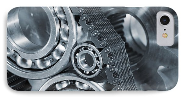 Gears And Cogs Titanium And Steel Power IPhone Case by Christian Lagereek