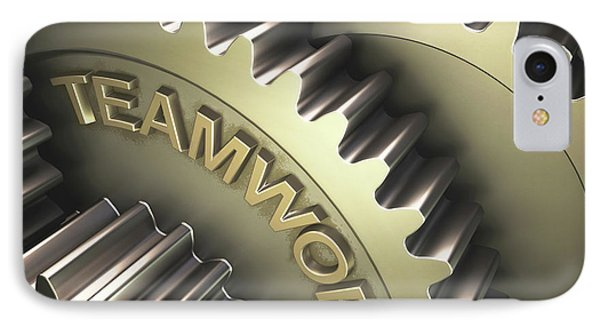 Gears With The Word 'teamwork' IPhone Case by Ktsdesign