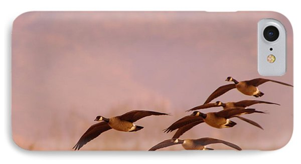 Geese Flying Over Phone Case by Jeff Swan