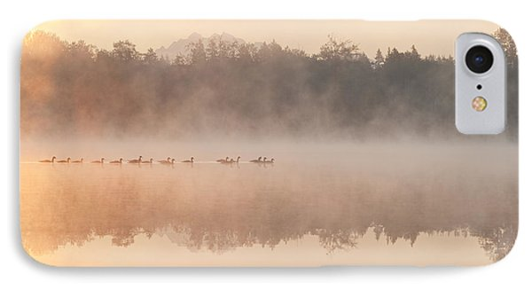 Geese In Sunrise And Fog, Lake Cassidy IPhone Case by Jim Corwin