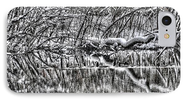 Geese On Pond Black And Wihite Phone Case by Dan Friend