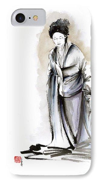 Geisha Classical Figure Kimono Woman Wearing Old Style Painting IPhone Case by Mariusz Szmerdt