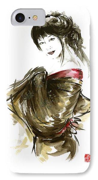 Geisha Gold Kimono Japanese Woman Sumi-e Original Painting Art Print IPhone Case by Mariusz Szmerdt