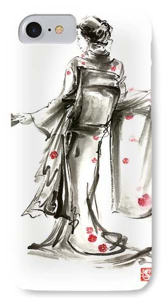 Geisha Japanese Woman Sumi-e Original Painting Art Print IPhone Case by Mariusz Szmerdt
