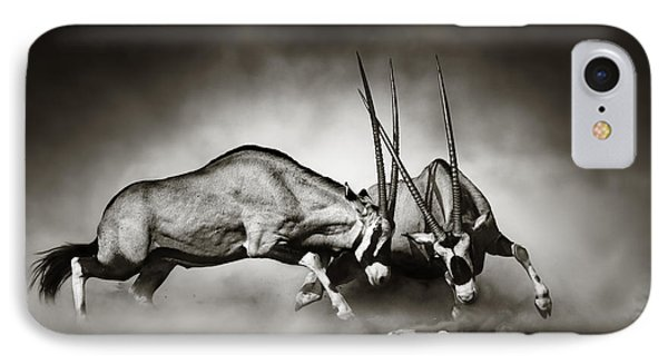 Gemsbok Fight IPhone Case by Johan Swanepoel