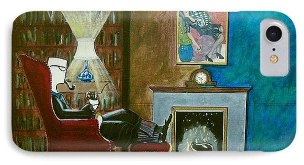 Gentleman Sitting In Wingback Chair Enjoying A Brandy IPhone Case by John Lyes