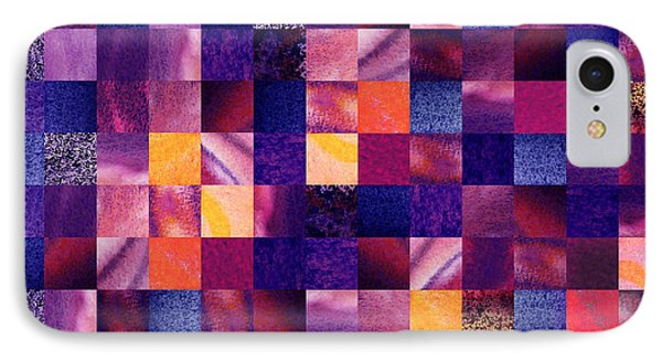 Geometric Abstract Design Purple Meadow IPhone Case by Irina Sztukowski