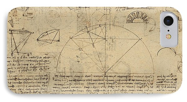 Geometrical Study About Transformation From Rectilinear To Curved Surfaces And Vice Versa From Atlan Phone Case by Leonardo Da Vinci