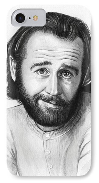 George Carlin Portrait IPhone 7 Case by Olga Shvartsur