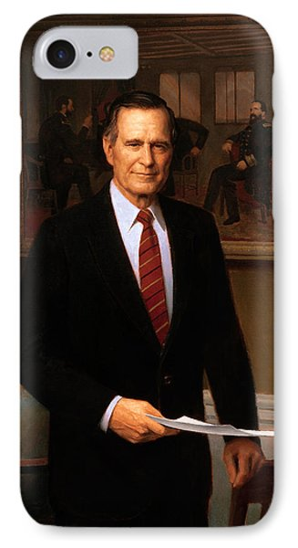 George Hw Bush Presidential Portrait IPhone 7 Case by War Is Hell Store