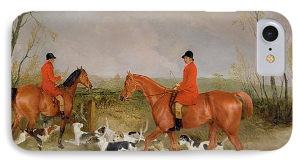 George Mountford, Huntsman To The Quorn, And W. Derry, Whipper-in, At John Ogaunts Gorse, Nr Melton IPhone Case by Richard Barrett Davis