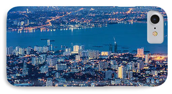 George Town Penang Malaysia Aerial View At Blue Hour IPhone Case by Jit Lim