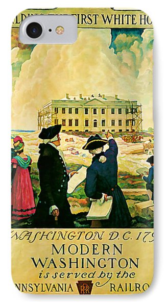 George Washington And The White House 1932 Vintage  IPhone Case by Presented By American Classic Art