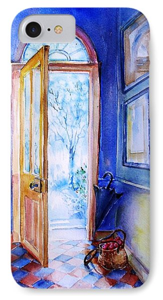 IPhone Case featuring the painting Winter Doorway Ireland    by Trudi Doyle