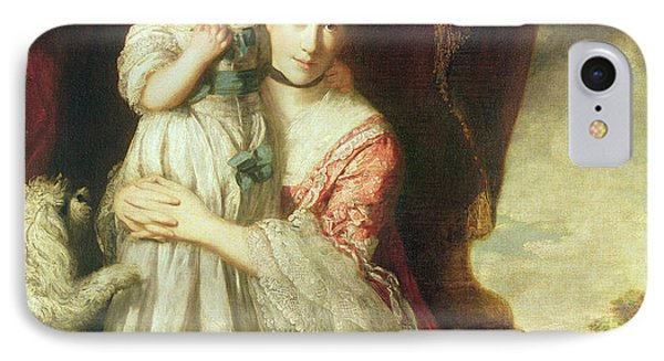 Georgiana, Countess Spencer With Lady Georgiana Spencer, 1759-61 Oil On Canvas IPhone Case by Sir Joshua Reynolds