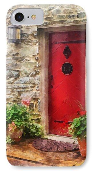 Geraniums By Red Door Phone Case by Susan Savad