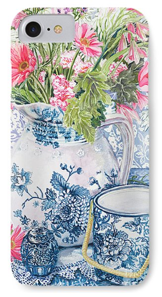 Gerberas In A Coalport Jug With Blue Pots IPhone Case by Joan Thewsey