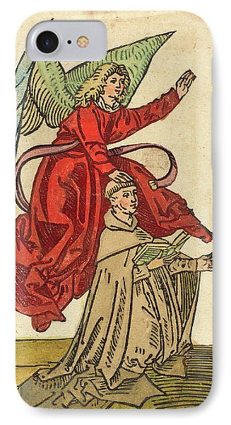German 15th Century, A Monk With An Angel, 1480-1490 IPhone Case by Quint Lox