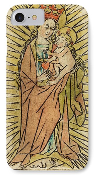 German 15th Century, The Madonna And Child With A Pear IPhone Case by Quint Lox