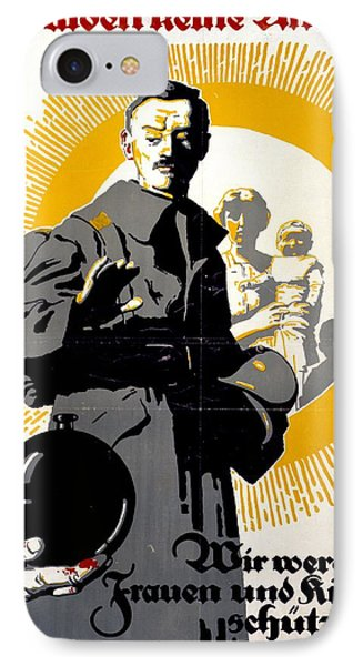 German Political Poster Shows A Soldier Standing In Front Of A Woman And Her Children Phone Case by Anonymous