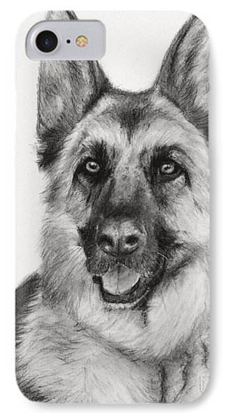 German Shepherd Drawn In Charcoal IPhone Case