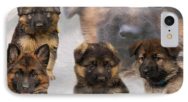 German Shepherd Puppy Collage Phone Case by Sandy Keeton