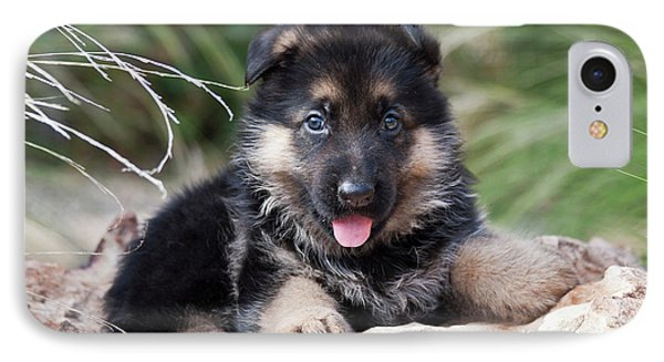 German Shepherd Puppy Lying On A Rock IPhone Case by Zandria Muench Beraldo