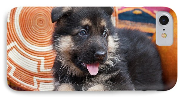 German Shepherd Puppy Lying IPhone Case by Zandria Muench Beraldo