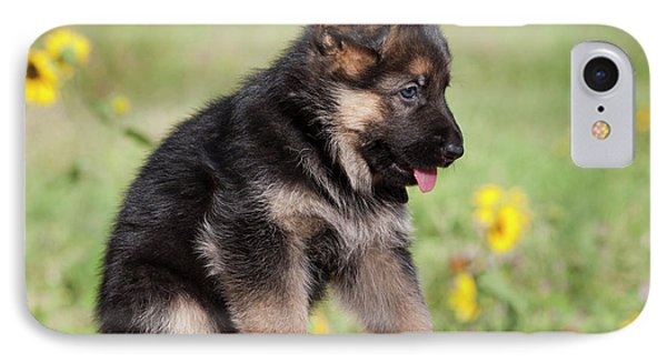 German Shepherd Puppy Sitting On Adobe IPhone Case by Zandria Muench Beraldo
