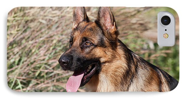 German Shepherd Sitting Alert Next IPhone Case by Zandria Muench Beraldo
